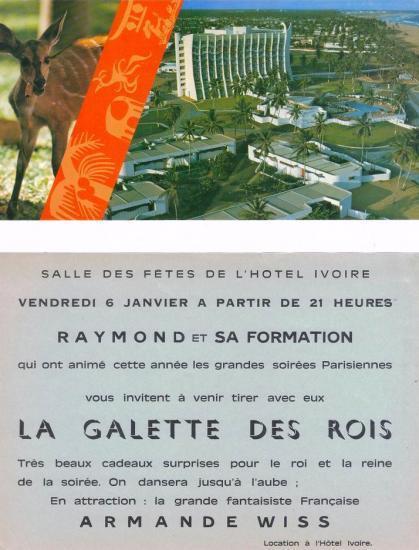 1977.Vue de l'hôtel de la paix à Lomé au Togo et pub de l'hôtel ivoire à Abidjan Côte d'Ivoire